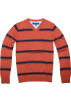 Tommy Hilfiger Pullovers -  Tommy Hilfiger Men V-neck Striped Logo Sweater Pullover Chestnut/navy
