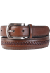 Tommy Hilfiger Belt -  Tommy Hilfiger Mens Braid Detail Topstitched Genuine Leather Belt Brown