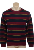 Tommy Hilfiger Pullovers -  Tommy Hilfiger Mens Long Sleeve Striped Crewneck Pullover Sweater Burgundy/Navy