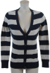 Tommy Hilfiger Cardigan -  Tommy Hilfiger Women Logo Striped Cardigan Sweater Navy/Gray