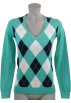 Tommy Hilfiger Pullovers -  Tommy Hilfiger Women Logo V-Neck Argyle Pullover Sweater Light Green/Navy/White