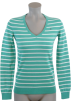 Tommy Hilfiger Pullovers -  Tommy Hilfiger Women Logo V-Neck Striped Pullover Sweater Green/white