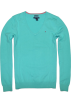 Tommy Hilfiger Pullovers -  Tommy Hilfiger Women V-neck Logo Pima Cotton Sweater Pullover Mint Green