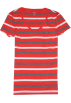 Tommy Hilfiger Shirts - kurz -  Tommy Hilfiger Women V-neck Striped T-shirt Red/Grey/White