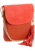 Amazon.com Bolsas -  Whiting and Davis Women's Pop Tassel Flap Clutch with Crossbody Strap Orange