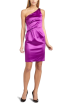Donna Morgan Dresses -  donna morgan Women's One Shoulder Solid Satin Dress With Shoulder Jewel Detail Plum