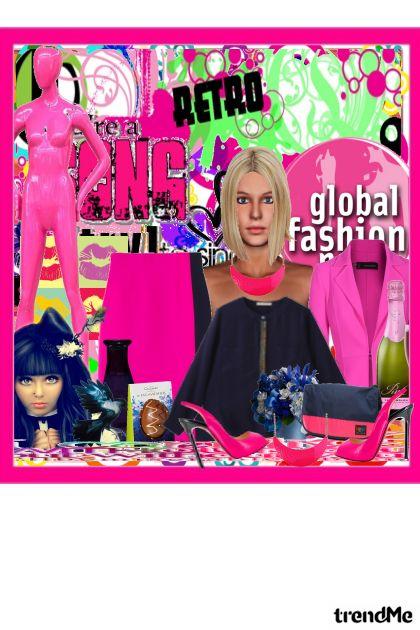 retro-roza kombaa- Fashion set