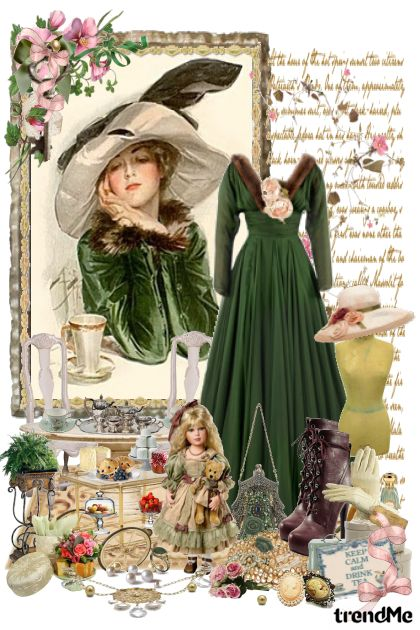 High Tea in Green Vintage style