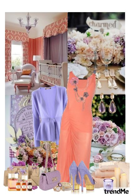 Coral×Light purple=Spring garden tea party