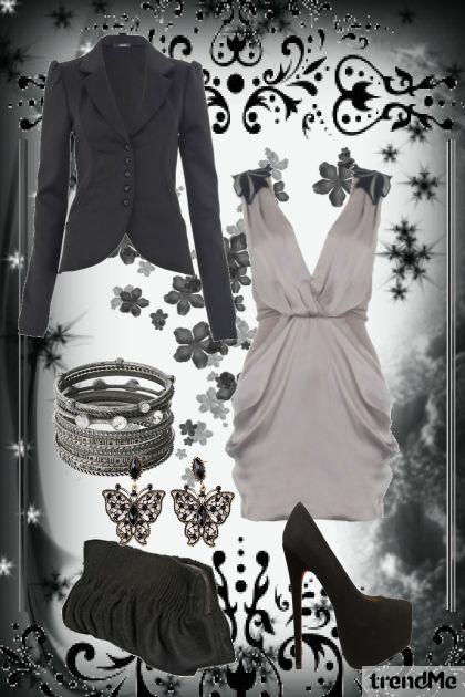 elegant black and gray combination- Fashion set