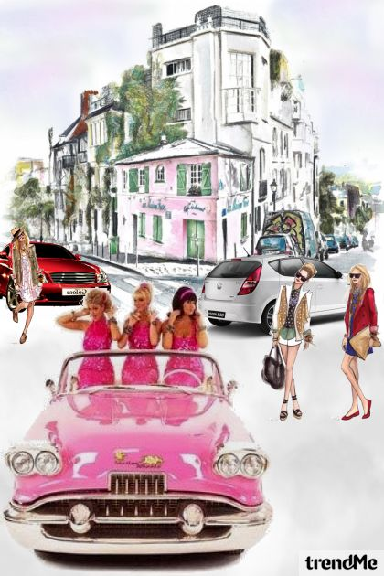 Girls Drive A Pink Car- Fashion set