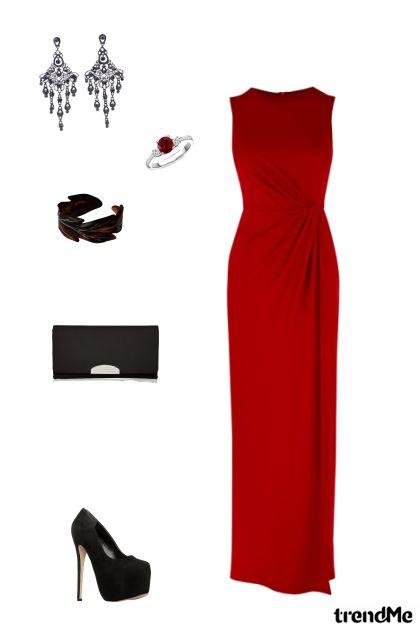 Večernja haljina crveno - crno
