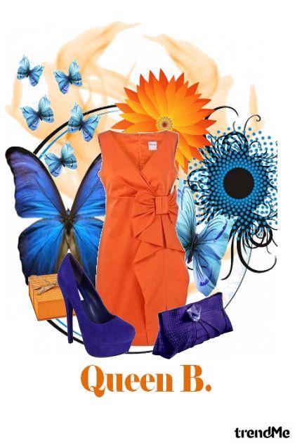 Queen Blue In Orange Dress...
