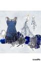 Blue dress, grey shoes