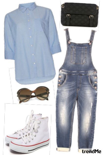 Zoella: Striped Shirt, Denim Dungarees