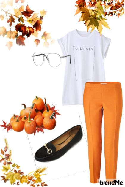 Zoella: orange trousers and autumnal air