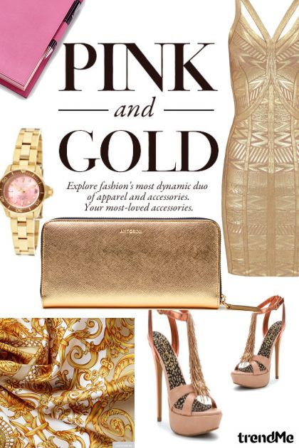 Pink and Gold ❤ Fashion Set
