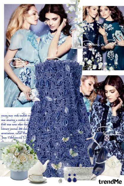 Blue appliqué dress <3