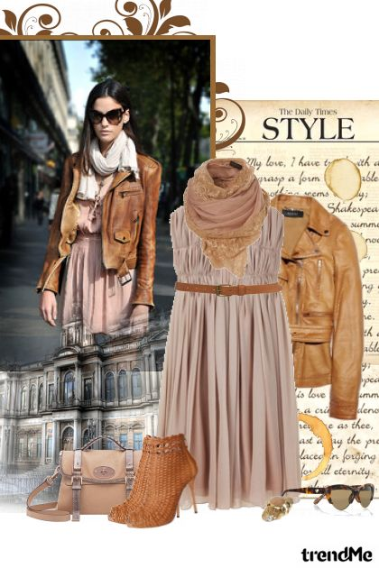 Street Style: beige dress and leather jacket!