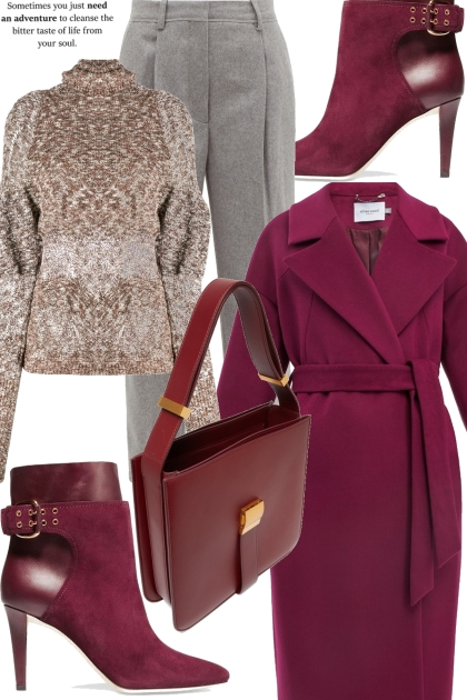 Simple & chic in burgundy colour- Fashion set