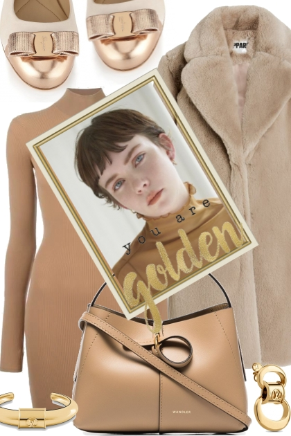 Golden to taupe beige- Fashion set