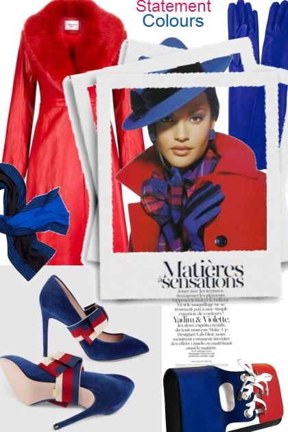 Elegance in blue & red- Modekombination