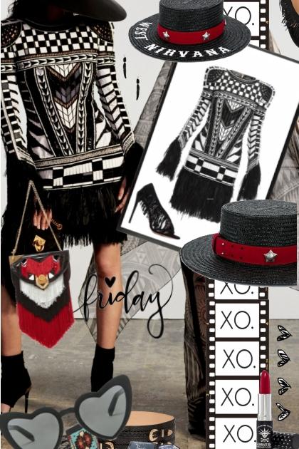 XO Fringe Friday XO- combinação de moda