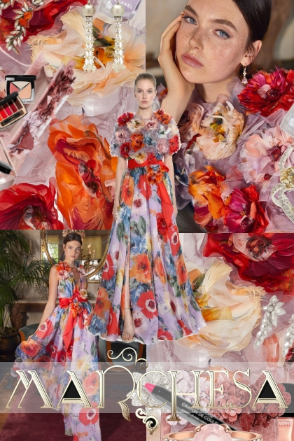 Marchesa Floral Patterned Silk Organza Gown
