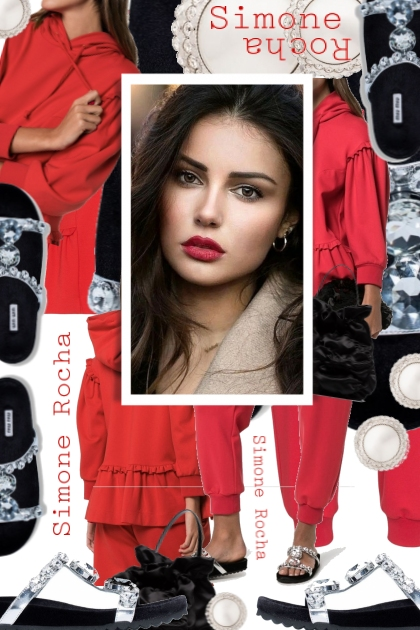 Simone Rocha Ruffles and Frills Red Track Suit