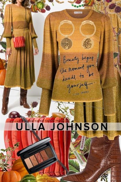 Ulla Johnson Shimmery Knit Sweater and Skirt- Combinaciónde moda