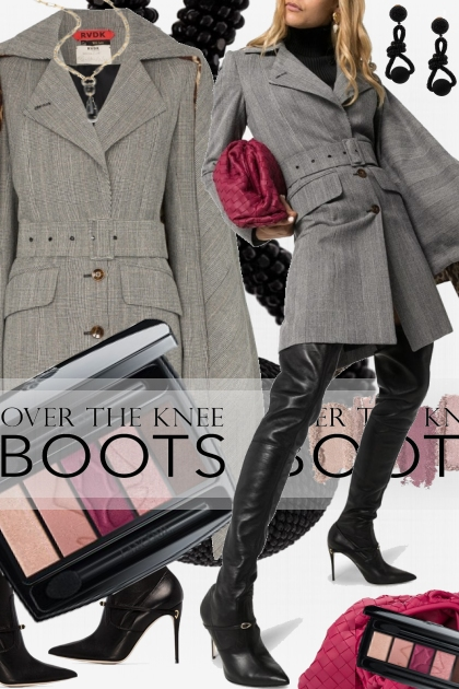 Trending Now Pink and Grey and Black OTK Boots