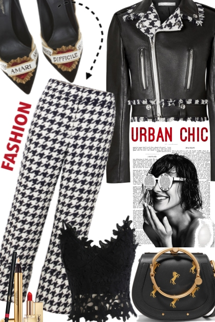 Urban Chic~Hounds tooth/Leather