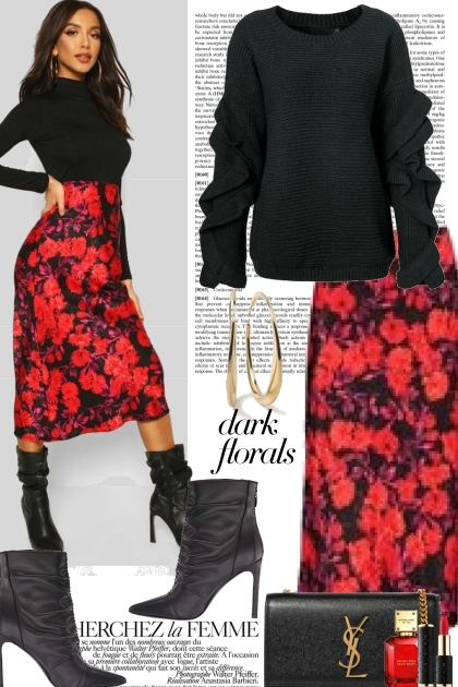 Red and Black Dark Floral
