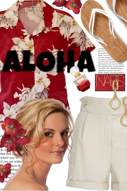 Aloha in White Faux Leather Shorts