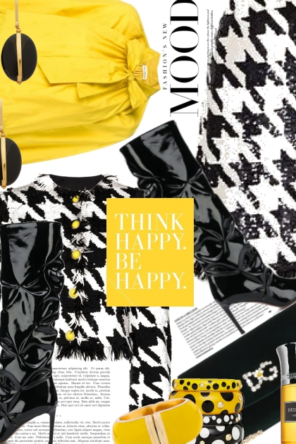 Think Happy Be Happy in Houndstooth