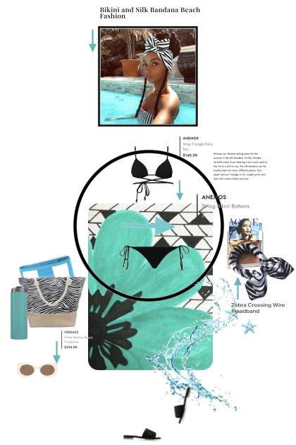 Bikini and Silk Bandana Beach Fashion
