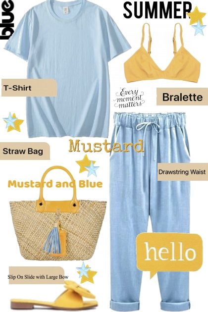 Hello Summer Blue and Mustard