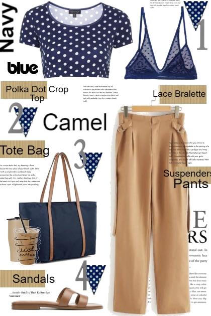 Polka Dot Navy Blue and Camel