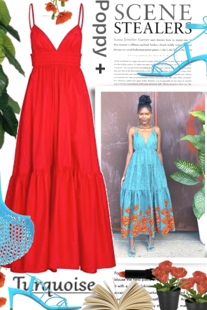 Scene Stealers in Poppy and Turquoise