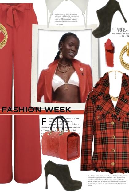 Fashion Week in Red Plaid