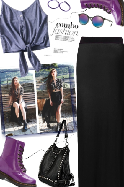 Purple boots and maxi skirt