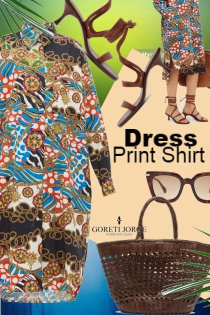 Print Shirt Dress- Modna kombinacija