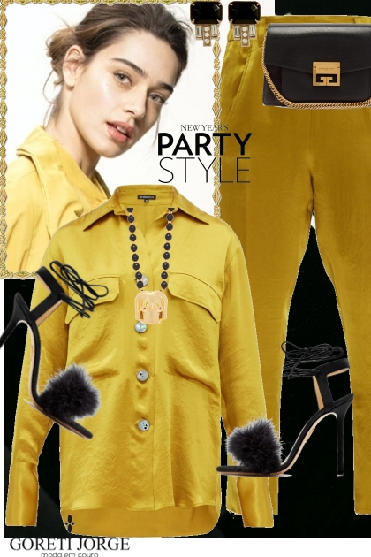Black & Yellow Party Look- Modna kombinacija