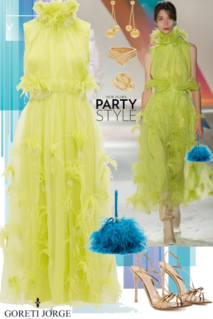 Party Yellow Dress- Modna kombinacija