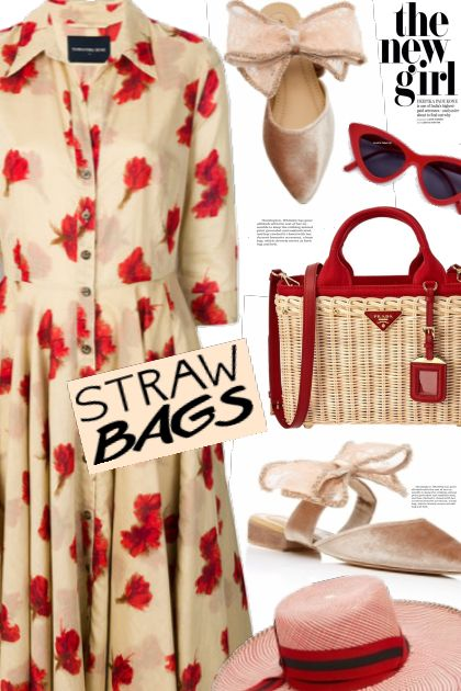 Straw bag and floral dress