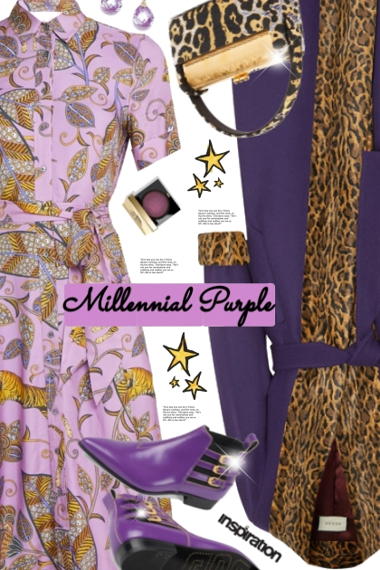 Lilac tiger-print shirtdress- Fashion set