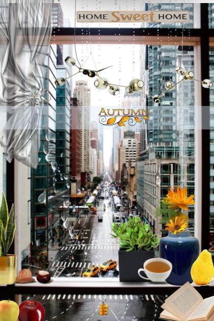 Autumn window view- Fashion set