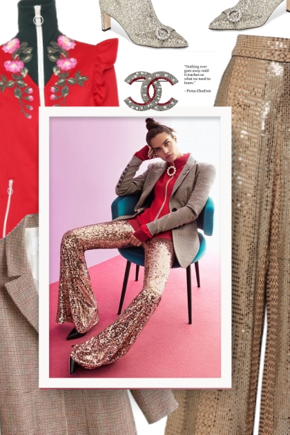 gold pants- Fashion set
