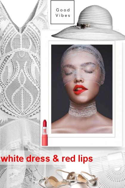 white dress & red lips