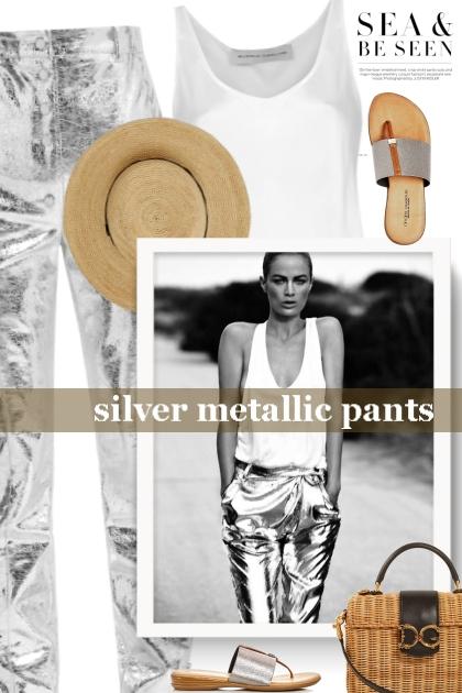 silver metallic pants